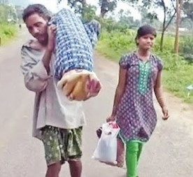 Man carrying his dead wife
